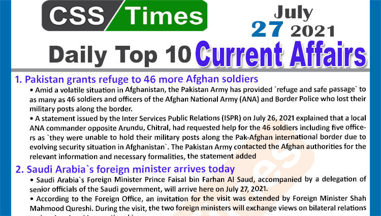 Daily Top-10 Current Affairs MCQs / News (July 27, 2021) for CSS, PMS