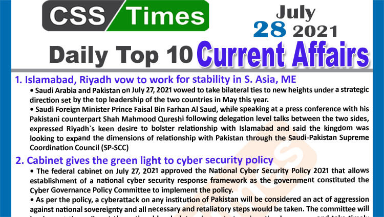 Daily Top-10 Current Affairs MCQs / News (July 28, 2021) for CSS, PMS