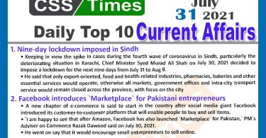 Daily Top-10 Current Affairs MCQs / News (July 31, 2021) for CSS, PMS
