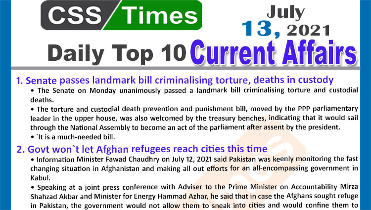 Daily Top-10 Current Affairs MCQs / News (July 13, 2021) for CSS, PMS