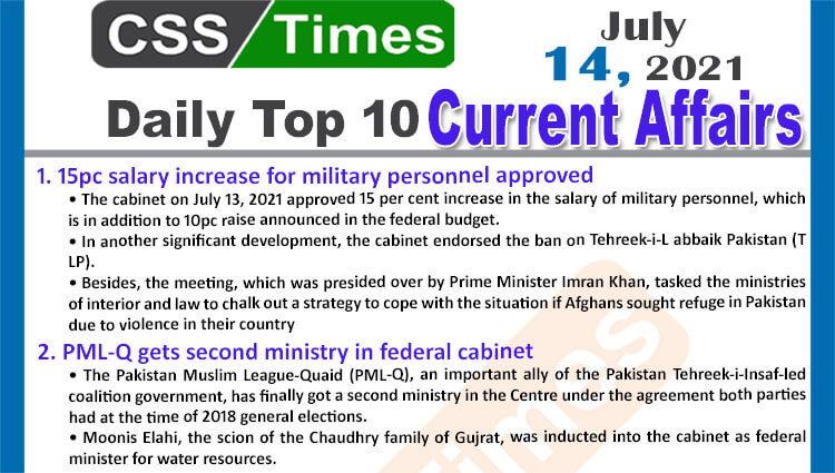 Daily Top-10 Current Affairs MCQs / News (July 14, 2021) for CSS, PMS