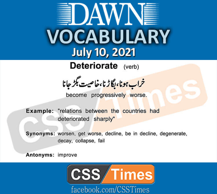 Daily DAWN News Vocabulary with Urdu Meaning (10 July 2021)