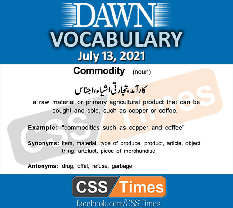 Daily DAWN News Vocabulary with Urdu Meaning (13 July 2021)