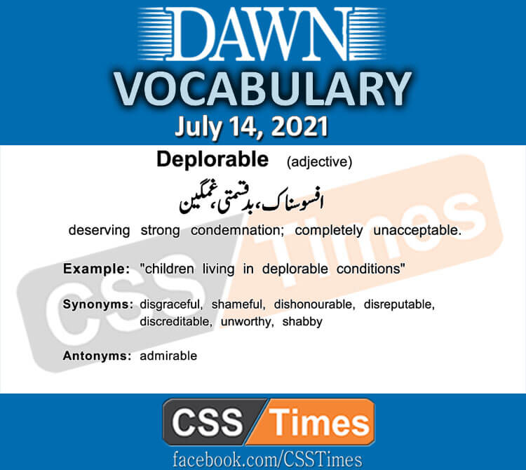 Daily DAWN News Vocabulary with Urdu Meaning (14 July 2021)