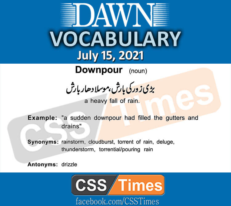 Daily DAWN News Vocabulary with Urdu Meaning (15 July 2021)