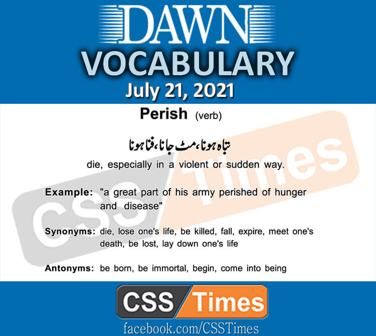 Daily DAWN News Vocabulary with Urdu Meaning (21 July 2021)