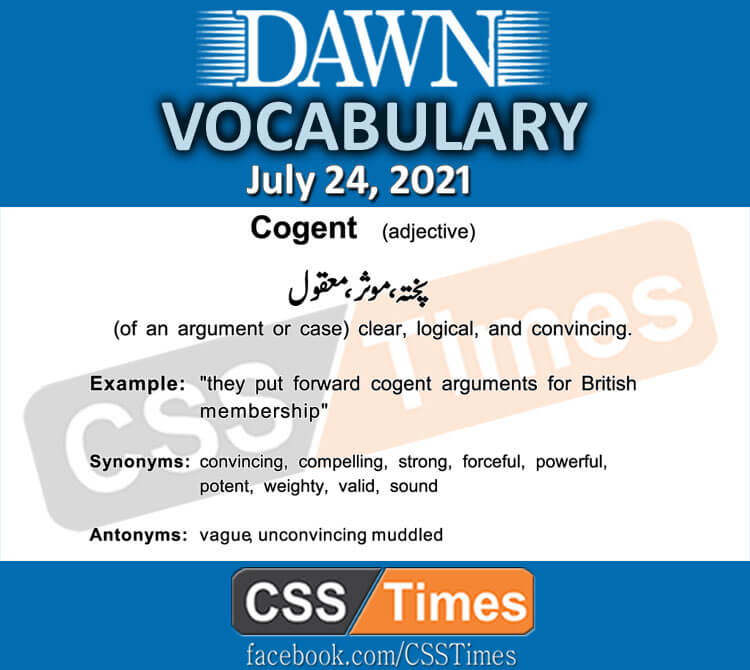 Daily DAWN News Vocabulary with Urdu Meaning (24 July 2021)