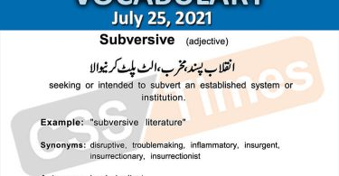 Daily DAWN News Vocabulary with Urdu Meaning (25 July 2021)