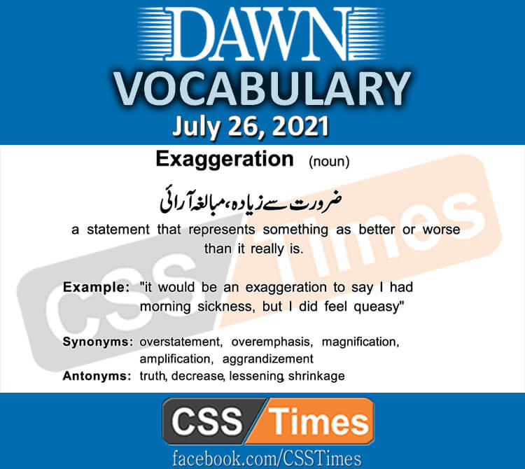 Daily DAWN News Vocabulary with Urdu Meaning (26 July 2021)