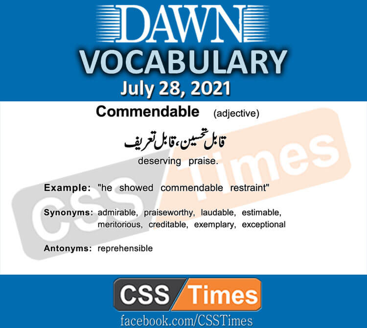 Daily DAWN News Vocabulary with Urdu Meaning (28 July 2021)
