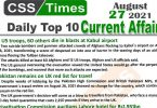 Daily Top-10 Current Affairs MCQs / News (August 27, 2021) for CSS, PMS