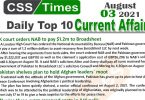 Daily Top-10 Current Affairs MCQs / News (August 03, 2021) for CSS, PMS
