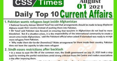 Daily Top-10 Current Affairs MCQs / News (August 01, 2021) for CSS, PMS