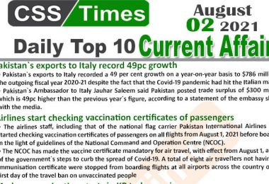Daily Top-10 Current Affairs MCQs / News (August 02, 2021) for CSS, PMS