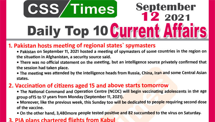 Daily Top-10 Current Affairs MCQs / News (September 12, 2021) for CSS, PMS