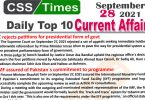 Daily Top-10 Current Affairs MCQs / News (September 28, 2021) for CSS, PMS