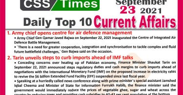 Daily Top-10 Current Affairs MCQs / News (September 23, 2021) for CSS, PMS