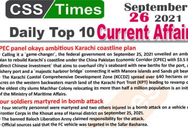 Daily Top-10 Current Affairs MCQs / News (September 26, 2021) for CSS, PMS