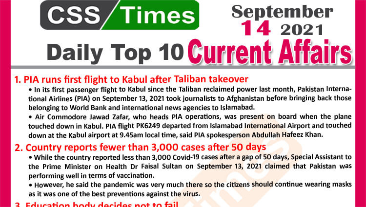 Daily Top-10 Current Affairs MCQs / News (September 14, 2021) for CSS, PMS