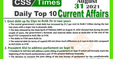 Daily Top-10 Current Affairs MCQs / News (August 31, 2021) for CSS, PMS