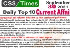 Daily Top-10 Current Affairs MCQs / News (September 30, 2021) for CSS, PMS