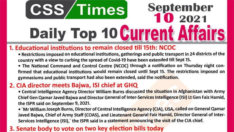 Daily Top-10 Current Affairs MCQs / News (September 10, 2021) for CSS, PMS