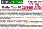Daily Top-10 Current Affairs MCQs / News (September 17, 2021) for CSS, PMS