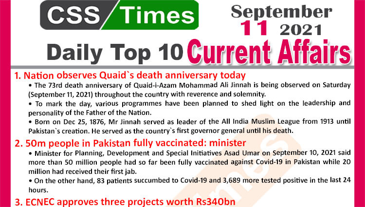 Daily Top-10 Current Affairs MCQs / News (September 11, 2021) for CSS, PMS