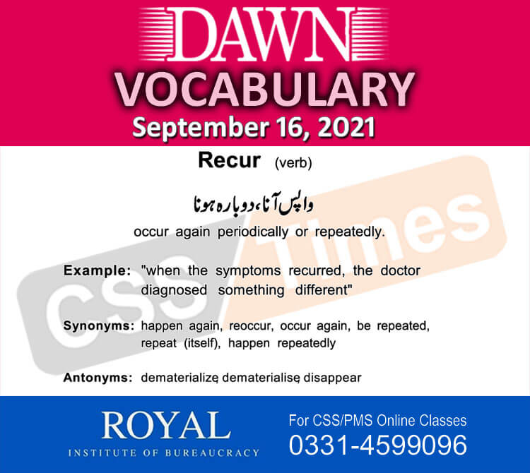 Daily DAWN News Vocabulary with Urdu Meaning (16 September 2021)