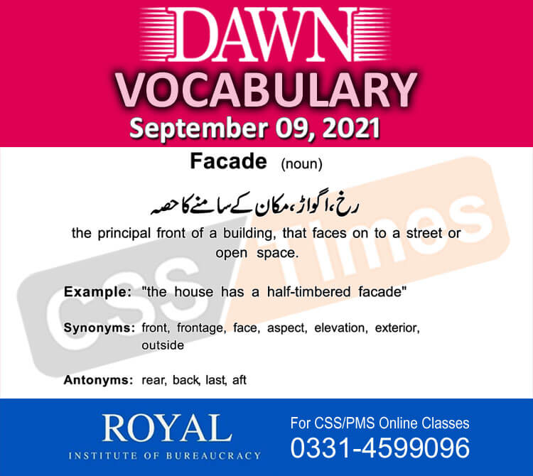 Daily DAWN News Vocabulary with Urdu Meaning (09 September 2021)