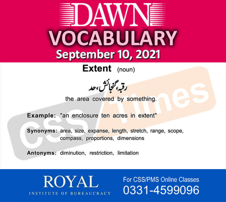 Daily DAWN News Vocabulary with Urdu Meaning (10 September 2021)