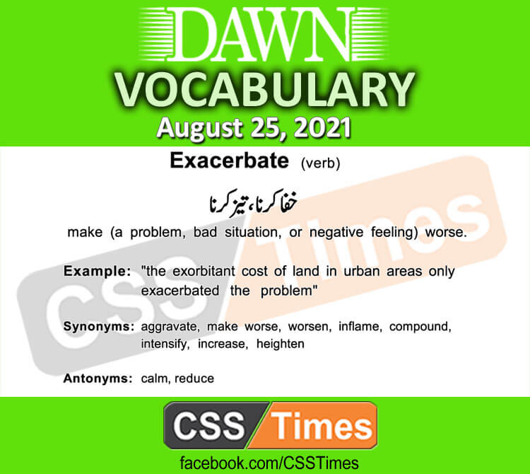 Daily DAWN News Vocabulary with Urdu Meaning (25 August 2021)