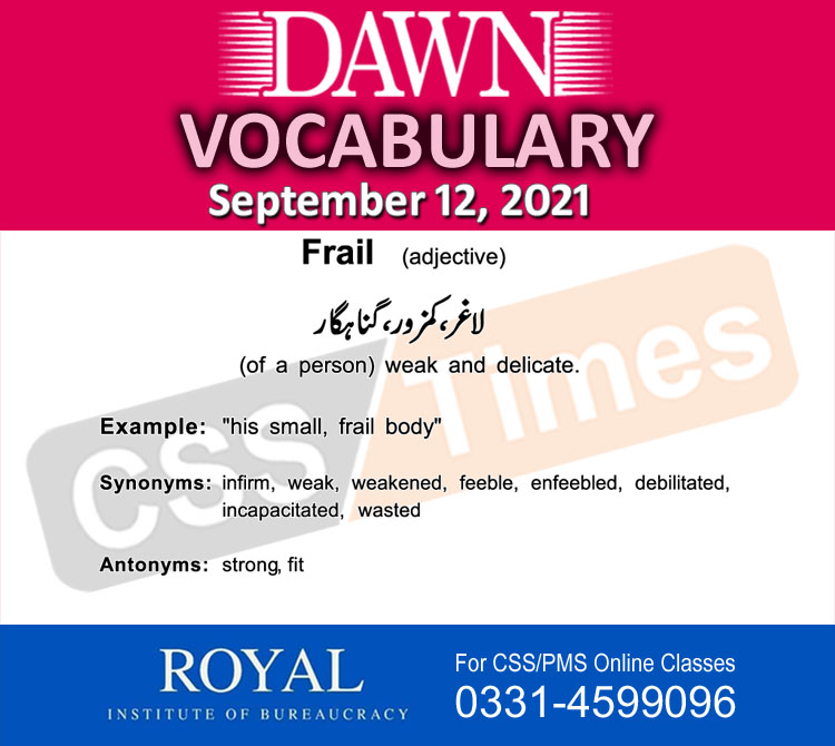 Daily DAWN News Vocabulary with Urdu Meaning (12 September 2021)