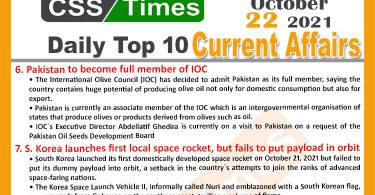 Daily Top-10 Current Affairs MCQs / News (October 22, 2021) for CSS, PMS