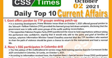 Daily Top-10 Current Affairs MCQs / News (October 02, 2021) for CSS, PMS