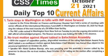 Daily Top-10 Current Affairs MCQs / News (October 21, 2021) for CSS, PMS