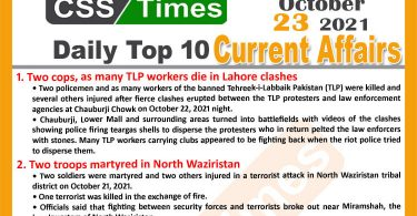 Daily Top-10 Current Affairs MCQs / News (October 23, 2021) for CSS, PMS