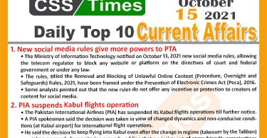 Daily Top-10 Current Affairs MCQs / News (October 15, 2021) for CSS, PMS