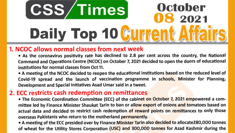 Daily Top-10 Current Affairs MCQs / News (October 08, 2021) for CSS, PMS