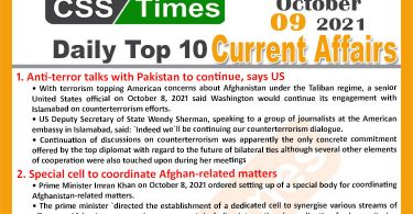 Daily Top-10 Current Affairs MCQs / News (October 09, 2021) for CSS, PMS