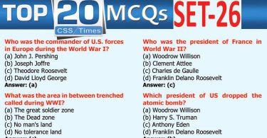 Daily Top-20 MCQs for CSS, PMS, PCS, FPSC (Set-26)
