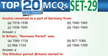 Daily Top-20 MCQs for CSS, PMS, PCS, FPSC (Set-29)