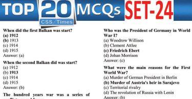 Daily Top-20 MCQs for CSS, PMS, PCS, FPSC (Set-25)