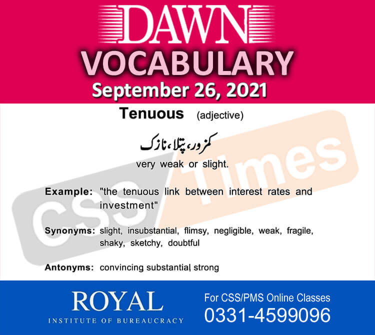Daily DAWN News Vocabulary with Urdu Meaning (26 September 2021)
